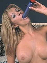 Breasty mature stuffin dildo in her pussy and ass