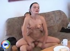 Nasty young fucker gets a skinny mature slut right over his hard dick