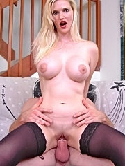Busty blonde milf gets tits mouth n pussy fucked