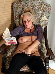 Old chick gets her tits licked and her butt fucked