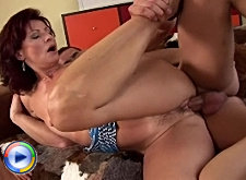 Hot milf sucks dick and gets her old cunt fucked