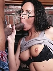 Nerdy brunette mature momma gags on black cock then rides it until she cums hard
