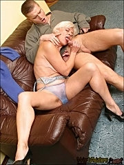 Mature blonde sucks her new lover's cock and enjoys it
