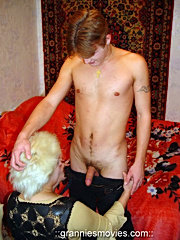 Vicious granny in stockings seduces hot boy ready to swallow his mighty cock