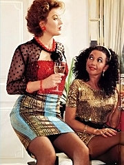 Two seventies ladies sharing one stiffy cock