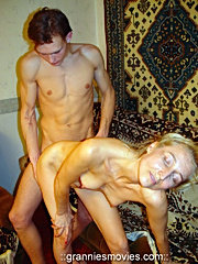 Blonde granny licks a fresh dick and gets hardly banged by it from behind