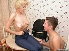 Horny grandma seducing guy