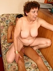 Teeny sucks her boyfriend's cock and licks mature woman's ass as the guy nails her doggystyle