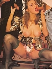 Seventies lady enjoys three big dicks at once