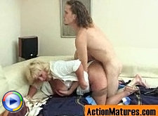 Blonde mature chick getting her fleshy pussy massaged with young meaty cock