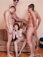 Cock sucking mom with big tits getting banged