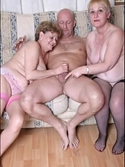 Old busty large boobs mature granny sucking cock