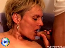 Busty mature hooker takes off bra and butt fucking