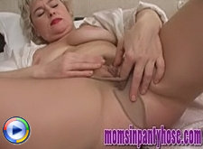 Juggy blonde wife sexercises in pantyhose