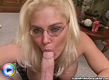 Lad was about to cum when friend's mom started blowing him but the hot look of mature lady's body promised so much