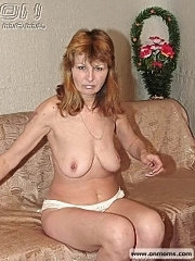 Longhaired ginger oldie in amateur striptease