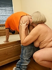 Horny granny has some kinky sex with a younger dude