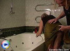 Wet old pussy gets a proper fuck from a youngster in the bath tub