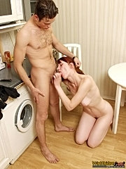 Smutty mature woman sucking younger guy`s cock and taking it hard in her hairy wet snatch