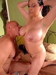 Squeezing fat old large tits mature chubby plumper