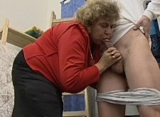 Fat granny face-fucked and a-bucked by young stud