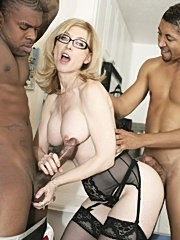 Nerdy blonde bored housewife gets her holes stuffed with thick meaty black cocks