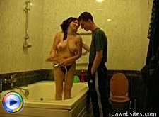 Steamy bathroom sex session with a milf and a teen