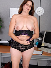 Old lady with fake tits and pierced clit